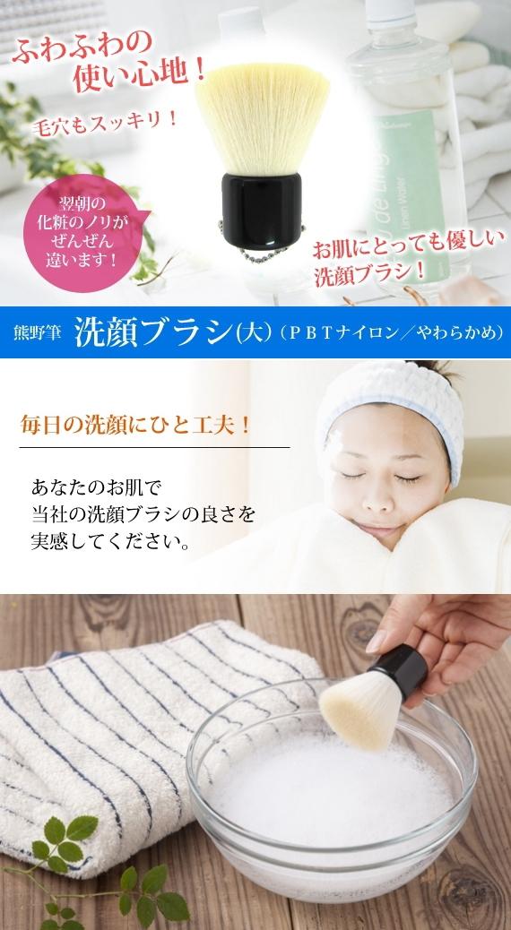 洗顔ブラシ(大) フラットタイプ【抗菌剤加工】/熊野化粧筆