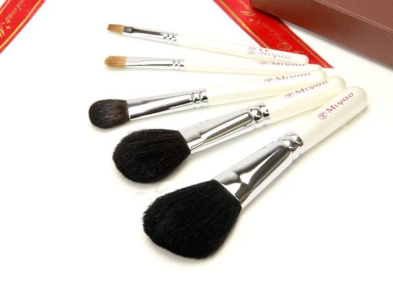 熊野化粧筆 携帯用 5本セット 新色ホワイトパール NO.8<クリスマスプレゼント>