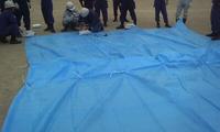 2015 熊野町消防団水防技術習得訓練実施-3 シート張り工法