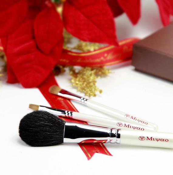 熊野化粧筆 携帯用3本セット 新色ホワイトパール NO.5<クリスマスプレゼント>