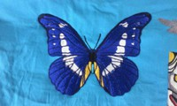 新作、オリジナル刺しゅう『青い蝶(チョウ)』。