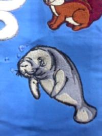 刺しゅう屋、岡本洋品店、新作、オリジナル刺しゅう『ジュゴン(人魚)』。