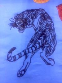 刺しゅう屋、岡本洋品店、新作、オリジナル刺しゅう『見返り虎』。