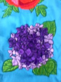 今週の一押し、刺しゅう屋、岡本洋品店、新作オリジナル刺しゅう『紫陽花(アジサイ)』。