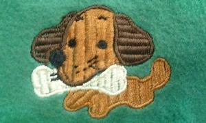 骨をくわえた犬の刺繍のご紹介