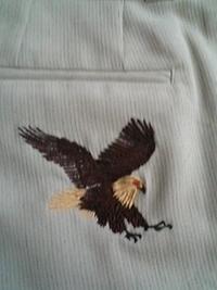岡本洋品店のオリジナル刺繍(鷹)
