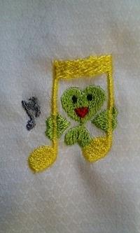 音符とクローバーのデザインの刺繍をご注文されたお客様へ