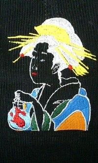 当店でお買上の帽子に、浮世絵の刺繍を入れました。