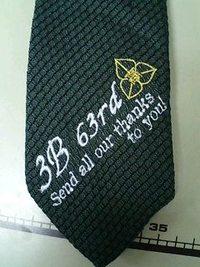 プレゼント用のネクタイに刺繍入れをする注文がありました。
