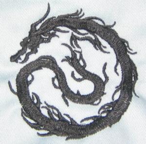 人気の高いドラゴン(龍・竜)シリーズ「ドラゴンの影」刺繍